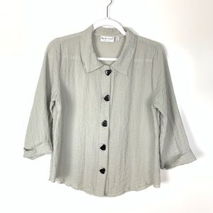 Habitat | Taupe Button Down Blouse 3/4 Sleeves
